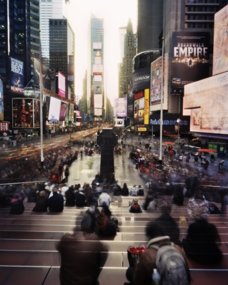 Father Duffy Square, December 9, 2001©Rose Marasco. See Rose Marasco: New York City Pinhole Photographs at Meredith Ward Fine Art through May 3.