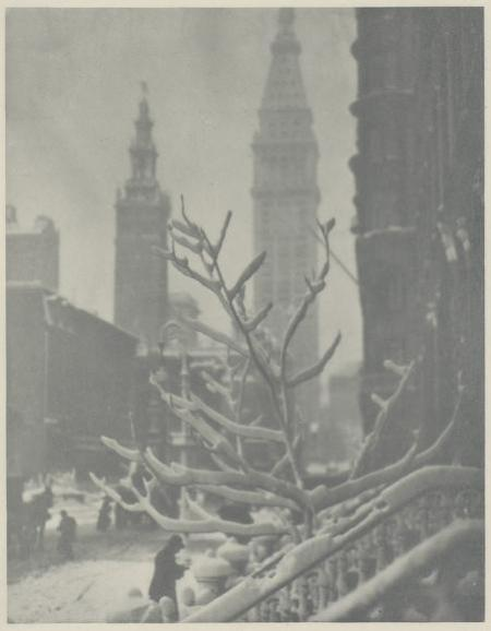 Alfred Stieglitz (1864–1946)  Two Towers–New York, 1911  Hand-pulled photogravure, ca. 1912 Gift of Doris Bry