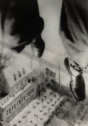 Seconds before Landing, from the series I Photograph Myself during a Parachute Jump, 1931©Willi Ruge (1882-1961). At MOMA in the Modern Photographs from the Thomas Walther Collection, 1909-1949